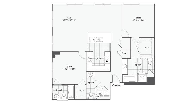 Floor Plan 82| Alamo Apartments San Antonio TX | Arrive Eilan