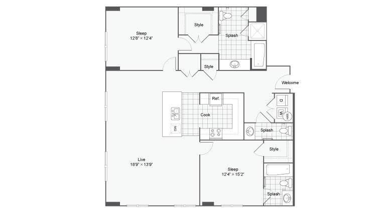 Floor Plan 85| Alamo Apartments San Antonio TX | Arrive Eilan
