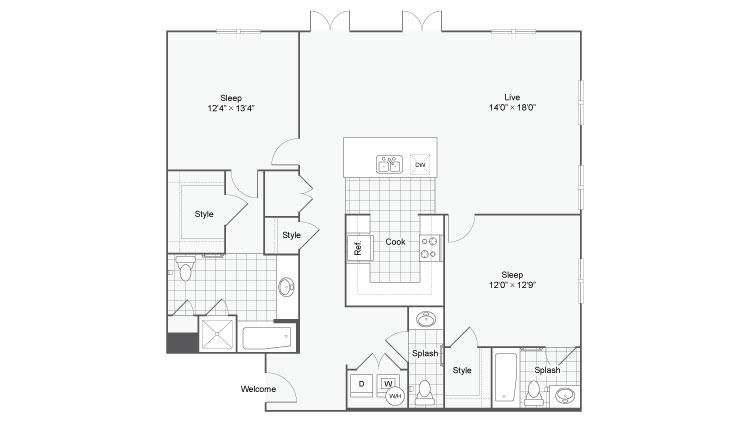 Floor Plan 86| Alamo Apartments San Antonio TX | Arrive Eilan