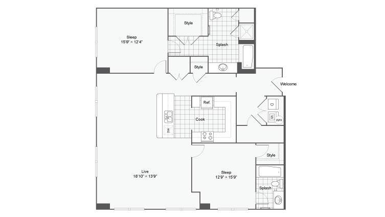 Floor Plan 87| Alamo Apartments San Antonio TX | Arrive Eilan