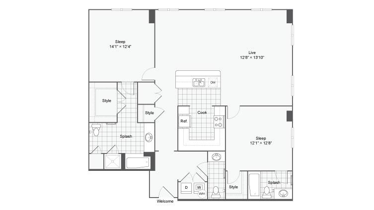 Floor Plan 88| Alamo Apartments San Antonio TX | Arrive Eilan