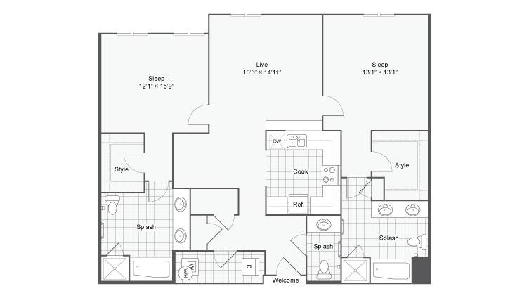 Floor Plan 96| Alamo Apartments San Antonio TX | Arrive Eilan