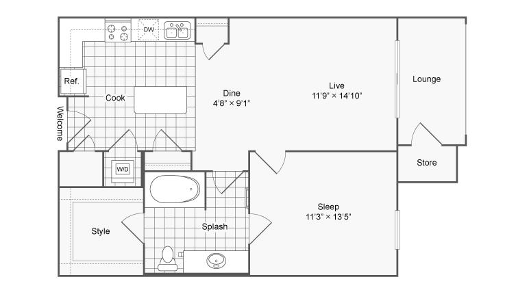 Floor Plan | Brookhaven Apartments Atlanta GA | The Mille Brookhaven Apartment Homes