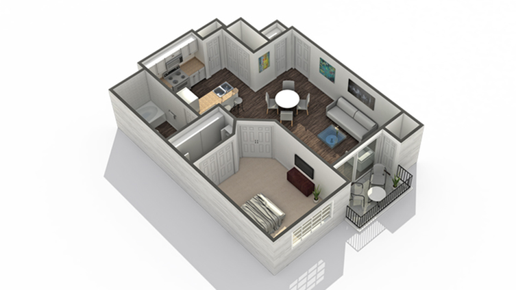 1 Bedroom Floor Plan | Pet Friendly Apartments In Scottsdale AZ | Arrive North Scottsdale