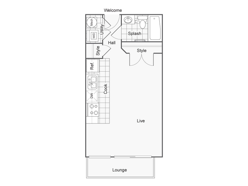 Floor Plan 2   Studio Apartments Downtown Wichita KS   ReNew Wichita