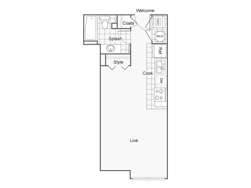 Floor Plan 4   Luxury Apartments Wichita KS   ReNew Wichita