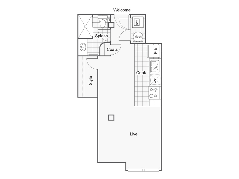 Floor Plan 5   Apartments Downtown Wichita KS   ReNew Wichita