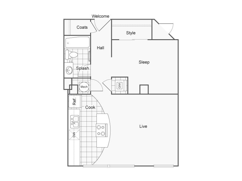 Floor Plan 12   Studio Apartments Downtown Wichita KS   ReNew Wichita