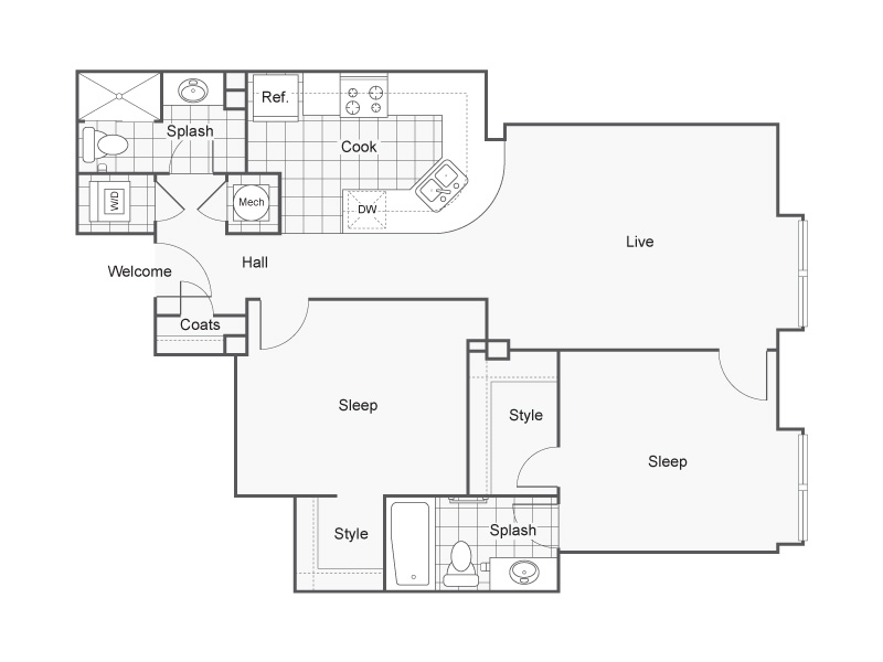 2 Bdrm Floor Plan   Luxury Apartments Wichita KS   ReNew Wichita
