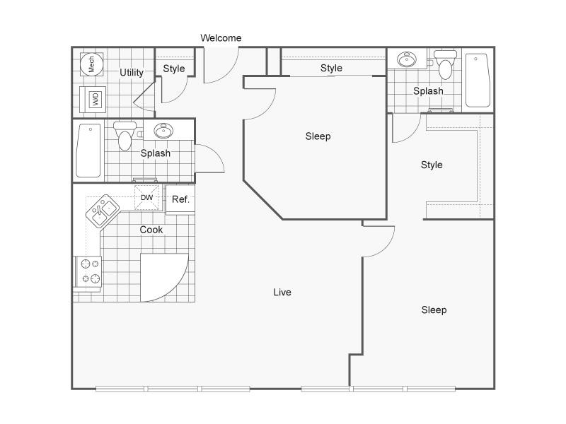 Floor Plan 44   Luxury Apartments Wichita KS   ReNew Wichita