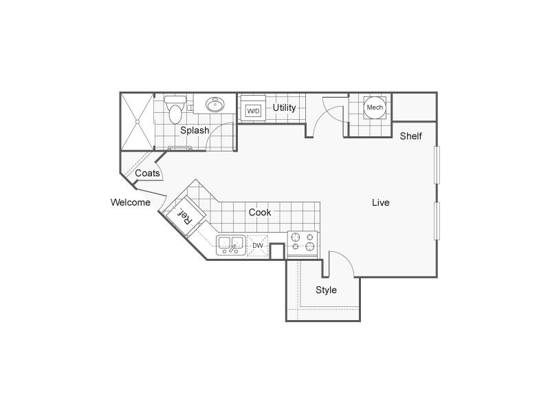 Studio Floor Plan   Wichita Kansas Apartments   ReNew Wichita