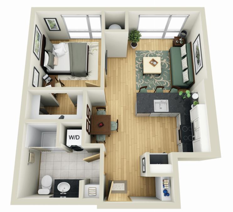 Floor Plan 5 | Minneapolis Apartments Near University Of Minnesota | Solhaus Apartments