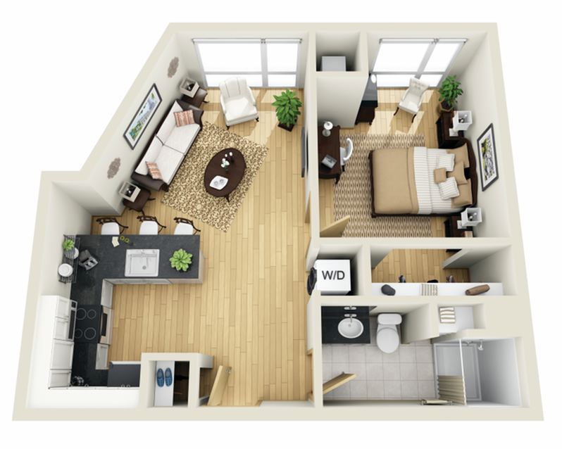 Floor Plan 7 | 1 Bedroom Apartments Minneapolis MN | Solhaus Apartments