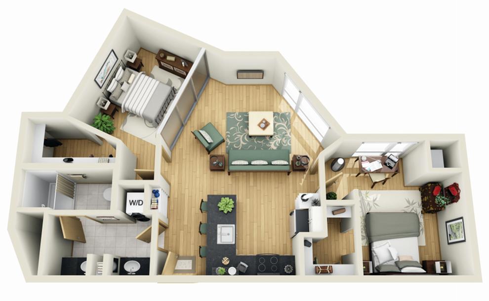 Floor Plan 17 | 1 Bedroom Apartments Minneapolis MN | Solhaus Apartments