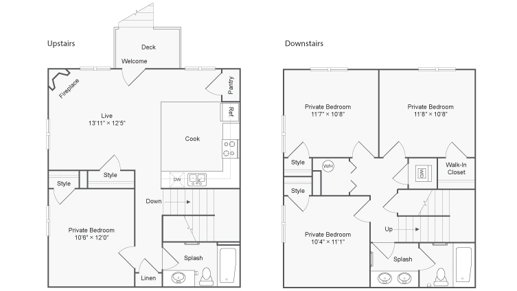 4 Bedroom Floor Plan | The Social West Ames Apartment Homes for Rent in Ames IA 50014