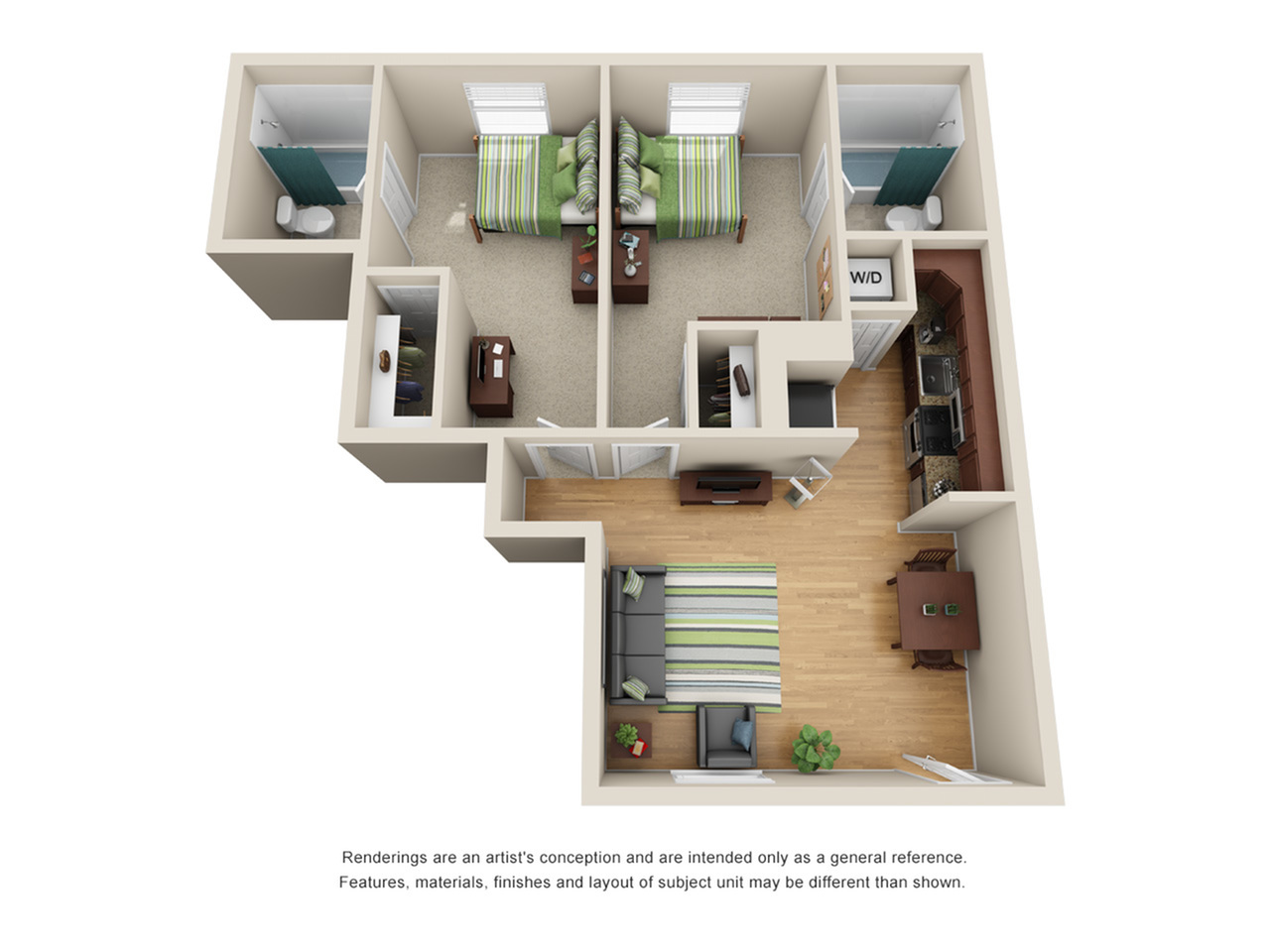 Unfurnished 2 Bedroom Floor Plan | Tampa Apartments Near USF | ULake Apartments