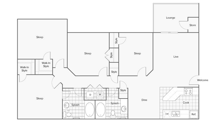 Floor Plan Image   ReNew Braelinn Apartment Homes for Rent in Peachtree City GA 30269