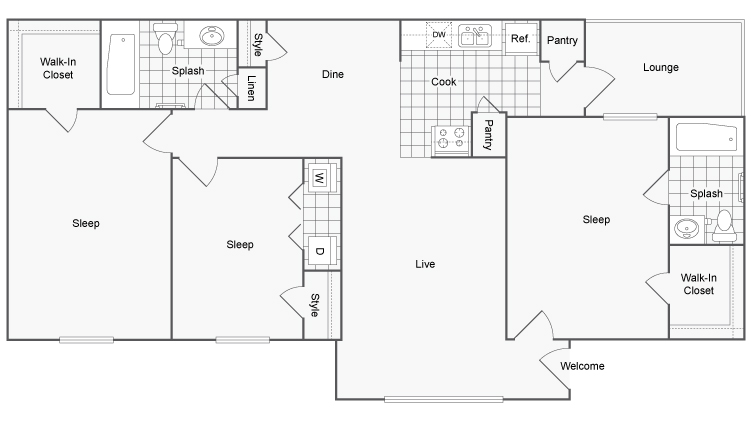 Floor Plan Layout   ReNew Garfield Apartment Homes for Rent in Midland TX 79705