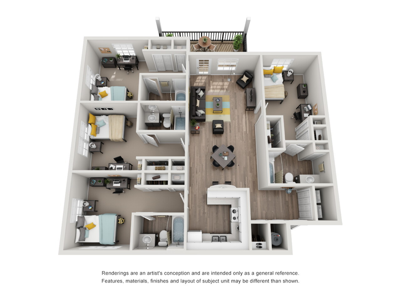 Floor Plan Images | Tallahassee Apartments | The Venetian Student Living