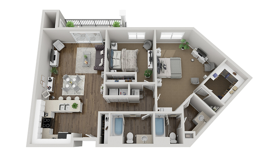 Floor Plan Image | 1-3 Bedroom Apartments San Diego | Arrive Mission Valley