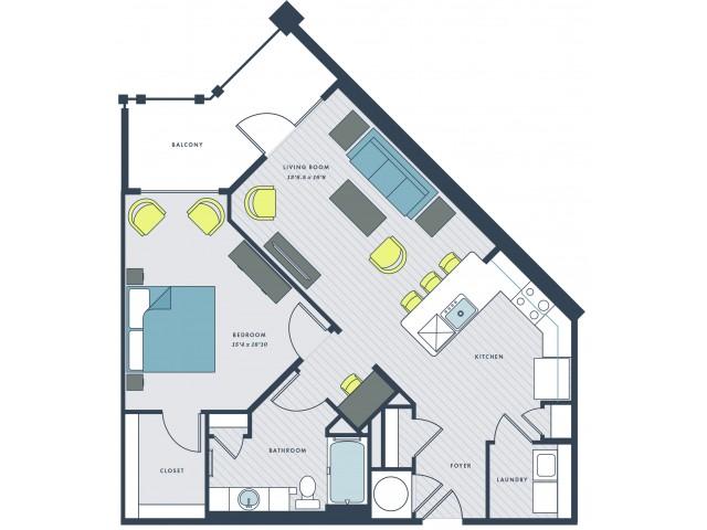 1 bedroom, 1 bathroom with foyer and balcony - Gadsen floor plan