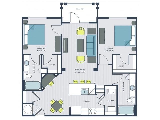 2 bedroom, 2 bathroom apartment home with balcony - Marshall floor plan