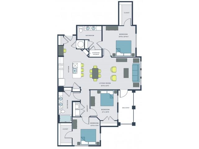 3 bedroom, 2 bathroom apartment home with balcony - Fazio floor plan