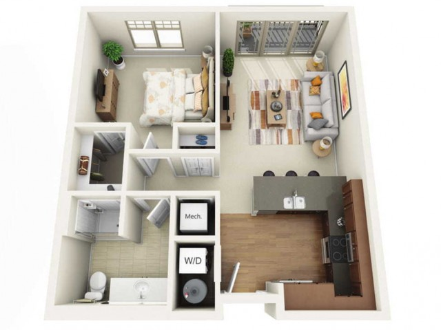 Floor Plan 1A | Wells Street Station | Apartments in Delafield, WI