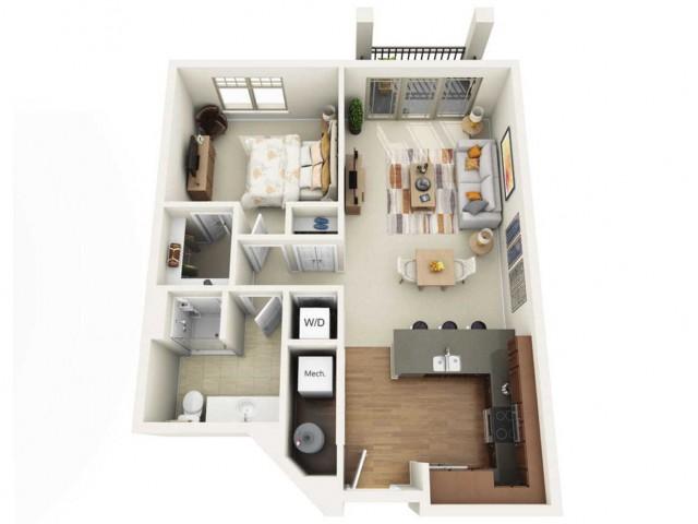 Floor Plan 1B | Wells Street Station | Apartments in Delafield, WI