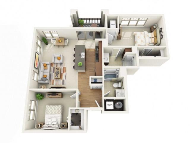 Floor Plan 2H | Wells Street Station | Apartments in Delafield, WI