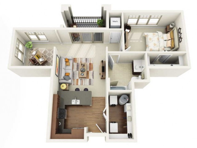 Floor Plan 1E | Wells Street Station | Apartments in Delafield, WI