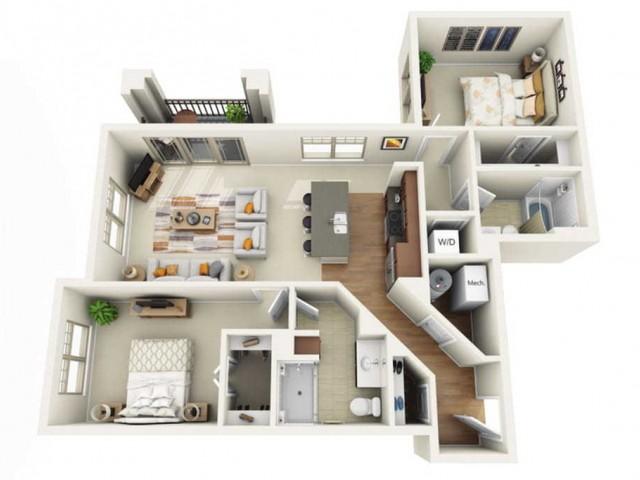 Floor Plan 2G | Wells Street Station | Apartments in Delafield, WI
