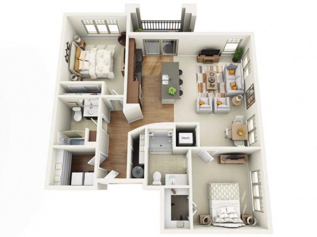 Floor Plan 2C | Wells Street Station | Apartments in Delafield, WI