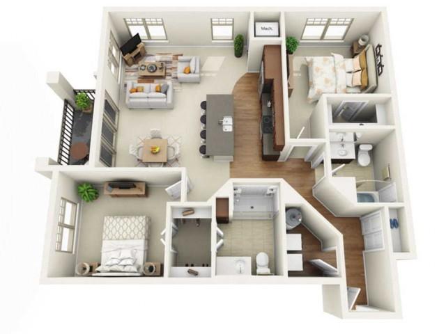 Floor Plan 2J | Wells Street Station | Apartments in Delafield, WI