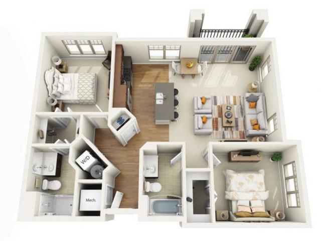Floor Plan 2F | Wells Street Station | Apartments in Delafield, WI