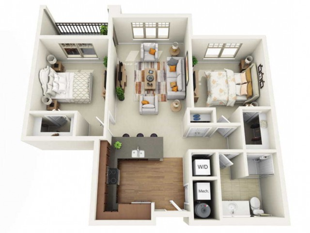 Floor Plan 2A | Wells Street Station | Apartments in Delafield, WI