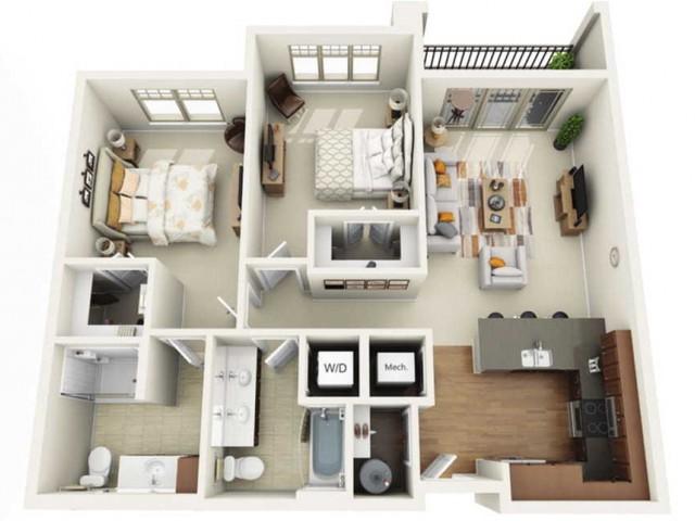 Floor Plan 2B | Wells Street Station | Apartments in Delafield, WI