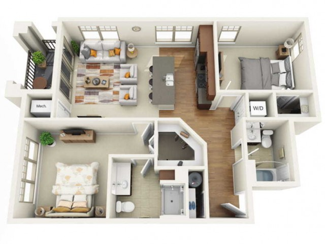Floor Plan 2E | Wells Street Station | Apartments in Delafield, WI