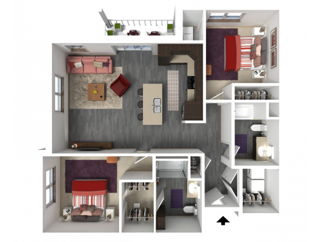 Floor Plan D1A | 1 Glenn Place | Apartments in Fitchburg, WI