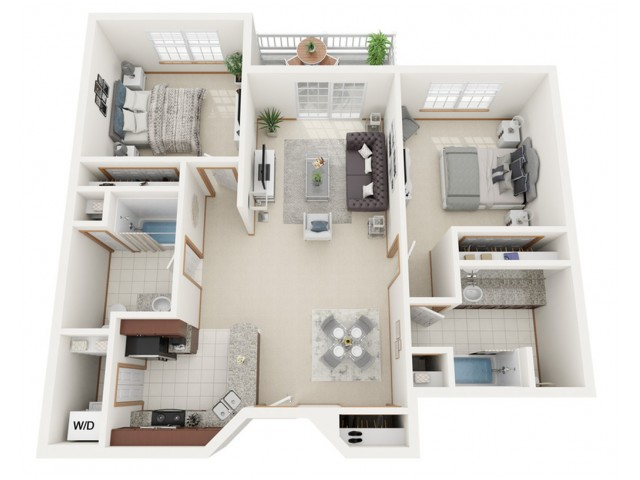 Floor Plan B | Riverwood Apartments | Apartments in Kenosha, WI