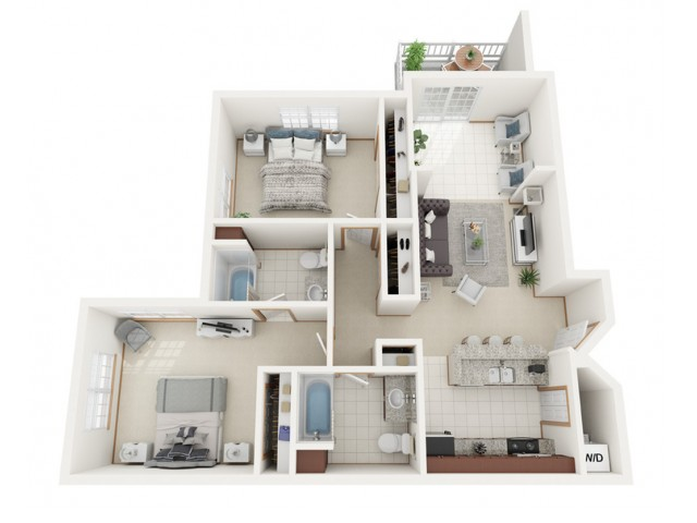 Floor Plan C | Riverwood Apartments | Apartments in Kenosha, WI