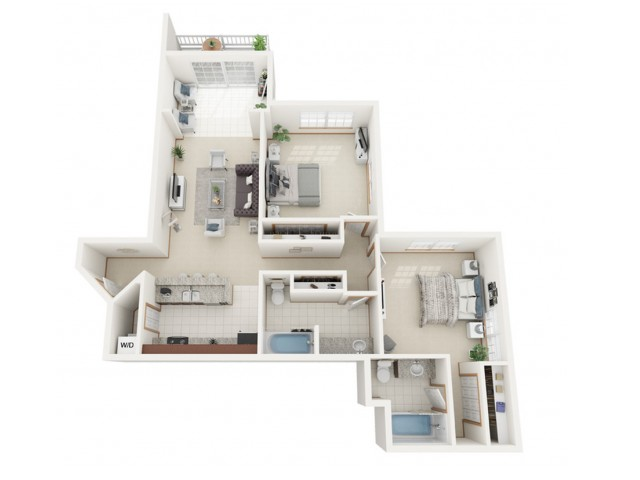 Floor Plan E | Riverwood Apartments | Apartments in Kenosha, WI