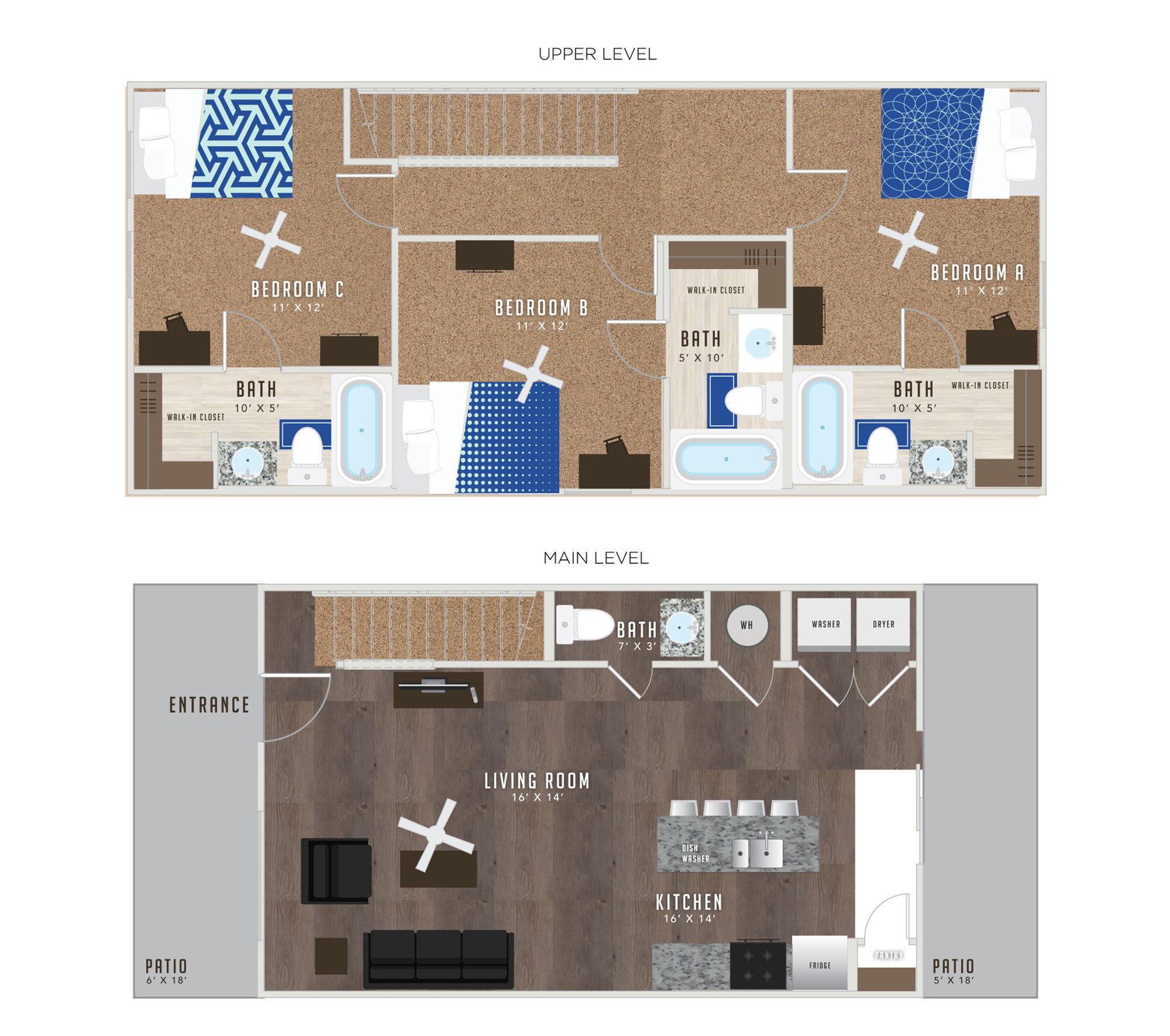 3 Bedroom Floor Plan | Studio Apartments Lawrence KS | Lawrence