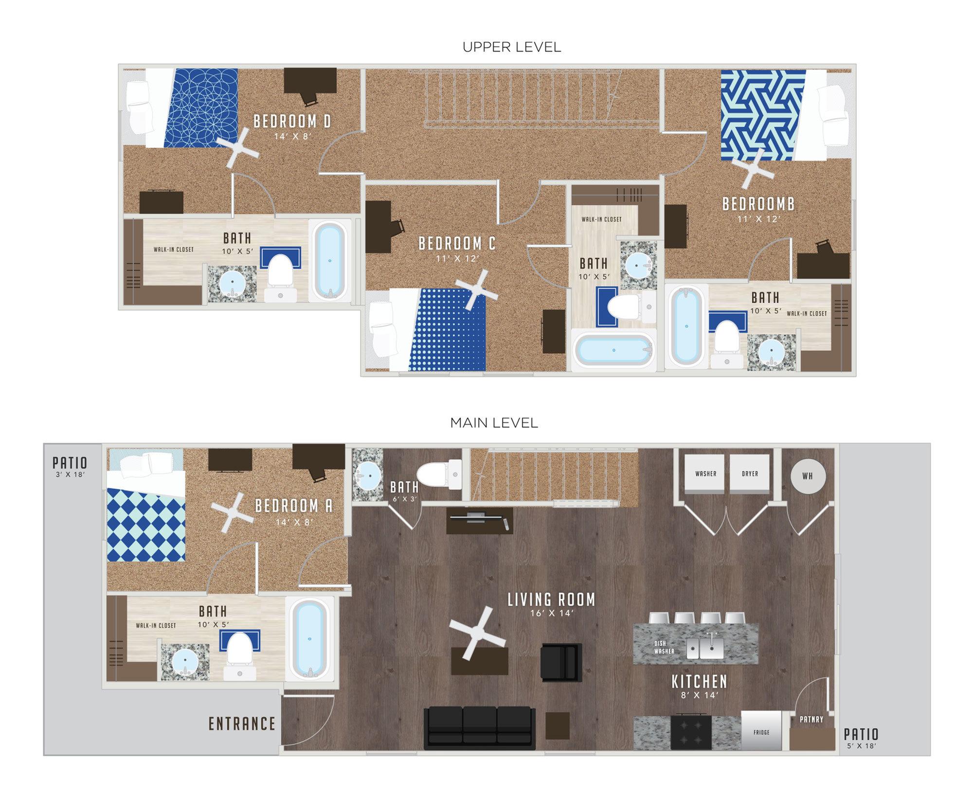 4 Bedroom Floor Plan | KU Off Campus Housing | Lawrence