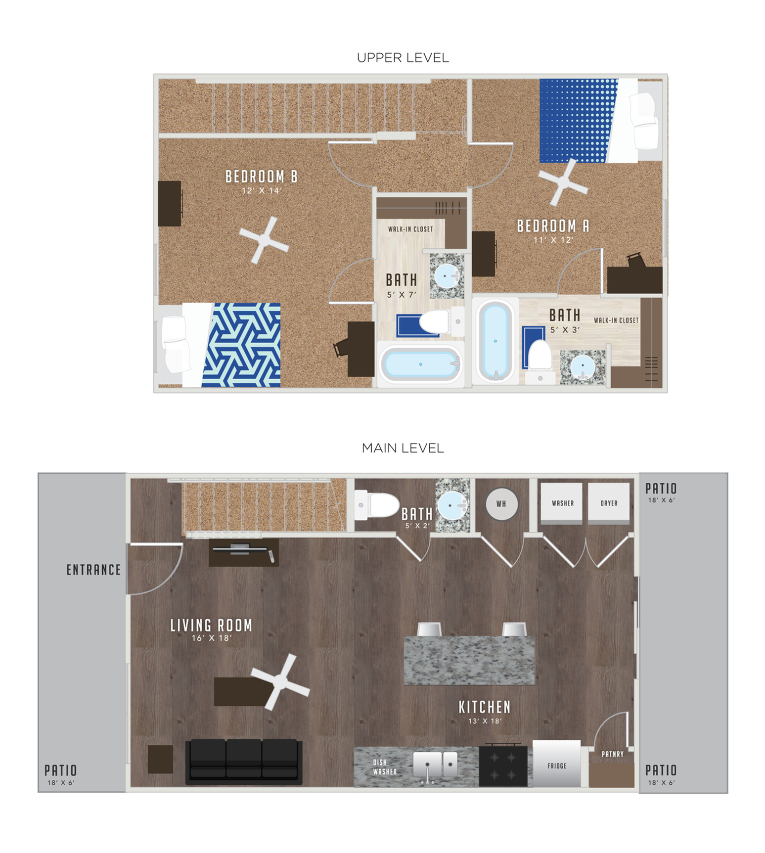 2 Bedroom Floor Plan   Apartments In Lawrence KS Near KU   Lawrence