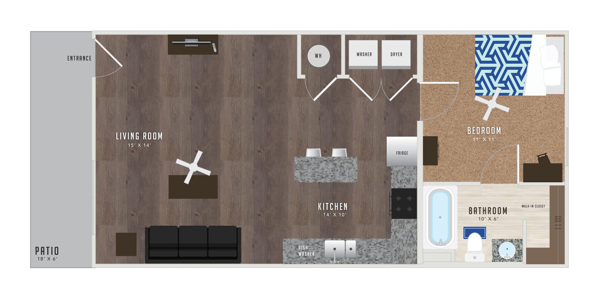 1 Bedroom Floor Plan | Student Apartments KU | Lawrence