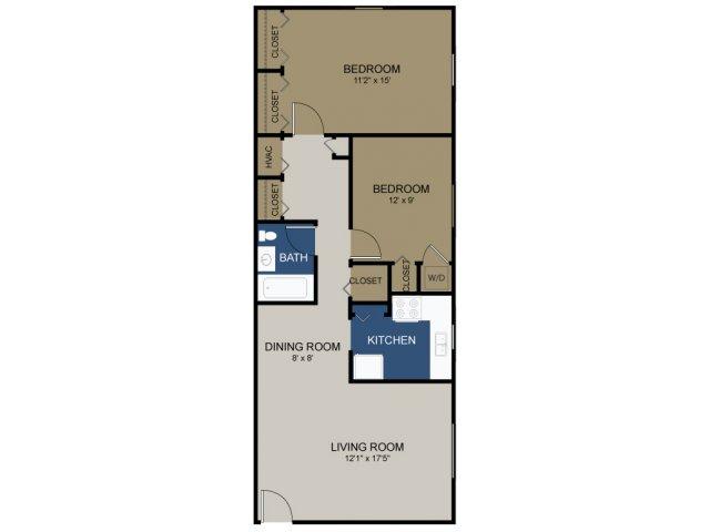 Two-bedroom Stratford floor plan at Wellington Woods