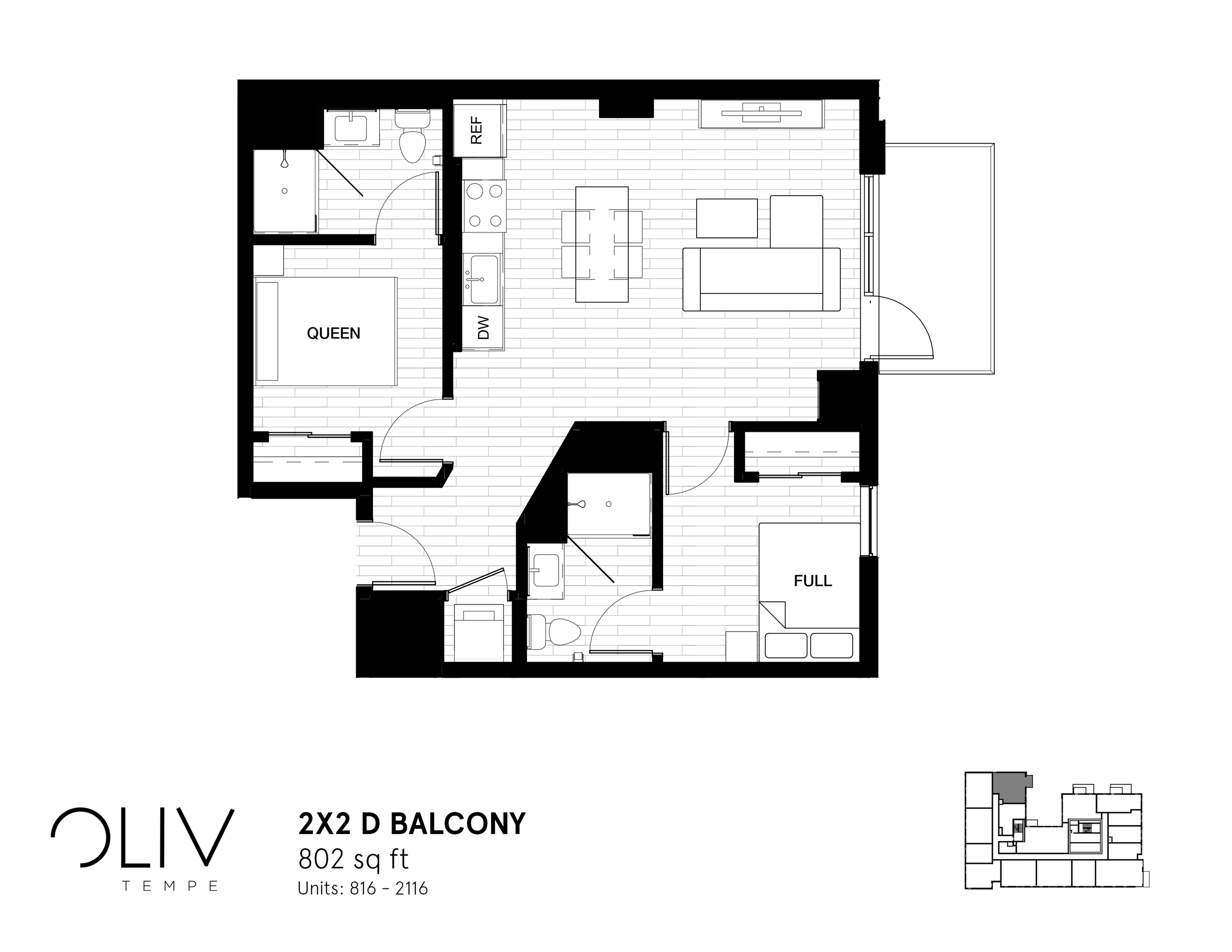 2x2 D Balcony