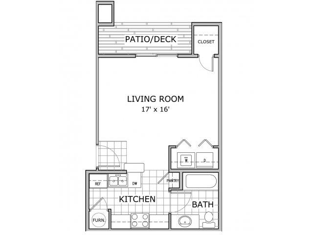 floor plan image of studio apartment at Cambridge Park