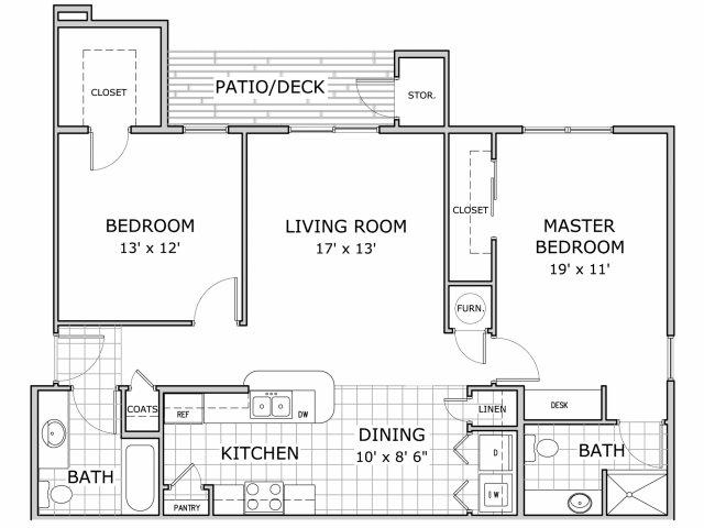 2 bedroom and 1 bathroom floor plan image